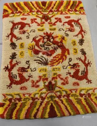 Decorative dragon area rug.