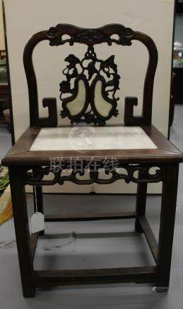 Antique Chinese rosewood marble chair.