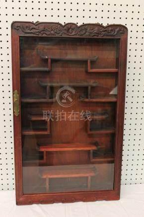 Chinese rosewood display shelf case.