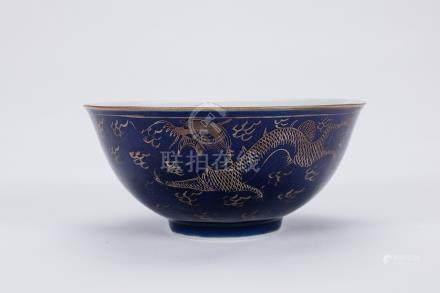 Chinese gilt powder blue porcelain bowl with dragon