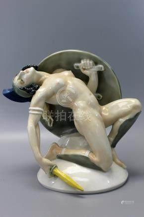 Nude Amazone Art Deco porcelain figurine from Artist J. Kopp 1912, Marker Karl Ens, Volkstedt Thuringia German.