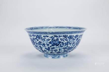 Chinese blue and white porcelain bowl, Yongzheng mark.