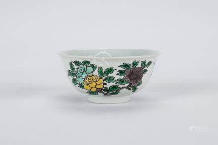 Chinese Sancai porcelain cup, Kangxi mark.