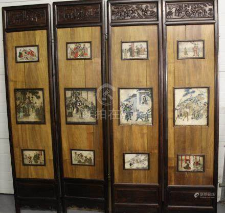 Chinese carved wood panel with painted marble plaques.