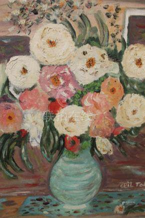 Still live flowers, Oil on canvas painting, Signed by