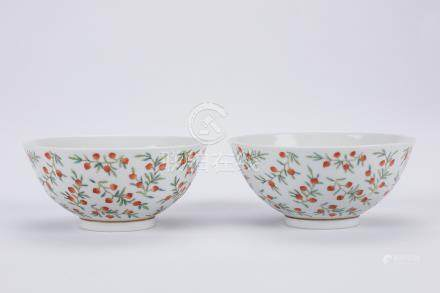 Pair of Chinese famille rose porcelain bowls, Guangxu