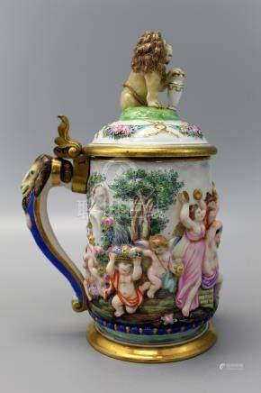 Italian Capodimonte Porcelain 19th Century Bas Relief