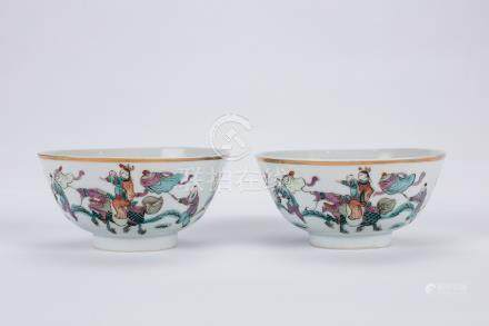 Pair of Chinese famille rose porcelain bowls.