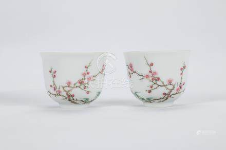 Pair of Chinese famille rose porcelain cups, marked.