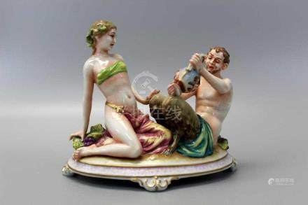 Antique Capodimonte Figurines Mythological Satyr and