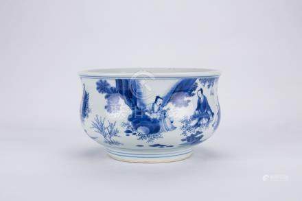 Chinese blue and white porcelain incense burner.