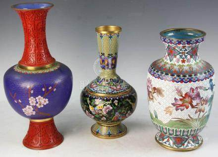 Three Chinese Cloisonn?? Vases