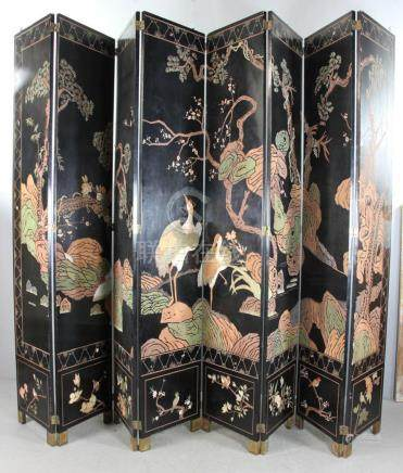 Japanese Carved Lacquered Folding Screen