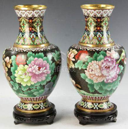 Pair of Cloisonn?? Chinese Vases