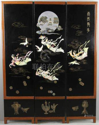 Japanese Three Panel Lacquered Screen
