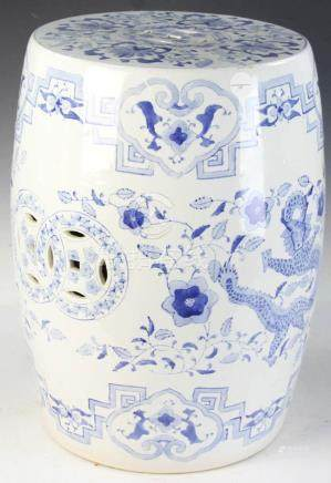 Chinese Glazed Barrel Form Garden Seat