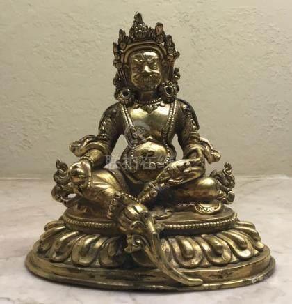 Kubera Gilded Bronze, Tibet, 18th Century