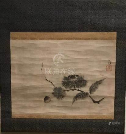 Japanese Scroll, Fruiting Chestnuts, After Kano Naonobu