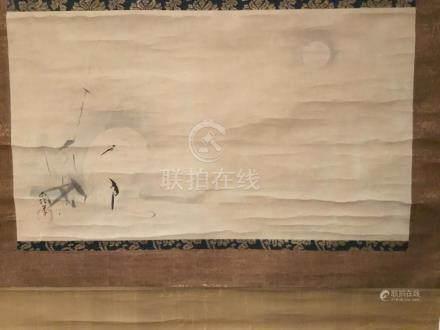 Japanese Scroll, Moon and White Heron by Kano Naonobu