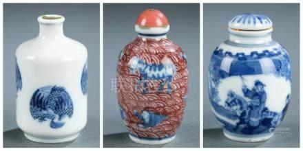 3 porcelain snuff and medicine bottles.