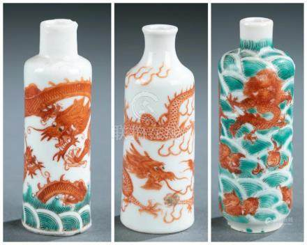 3 Enamel painted porcelain snuff bottle.