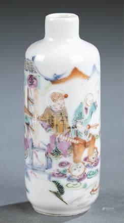 Famille rose porcelain snuff bottle.