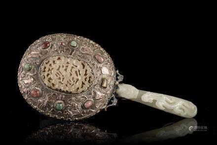 中國 二十世紀 玉柄銀製鏡子