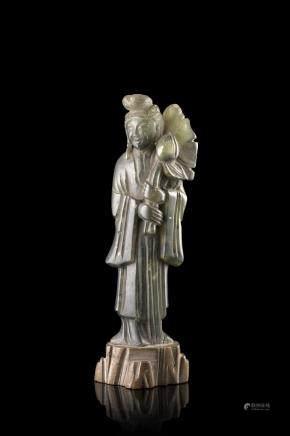中國 十九世紀 石雕仕女像
