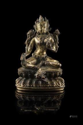 尼泊爾 十八/十九世紀 鎏金銅綠度母坐蓮像