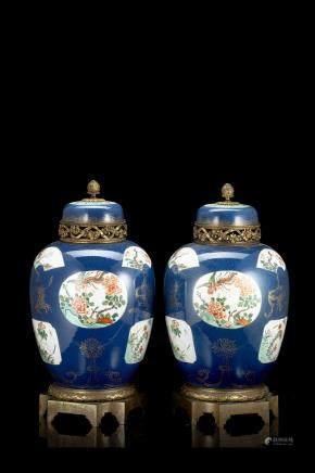 中國 十九世紀 藍地五彩花鳥紋姜罐 一對