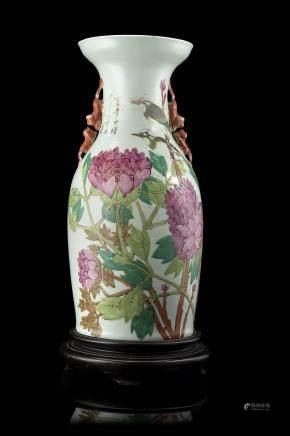 中國 二十世紀 彩繪花卉紋瓶