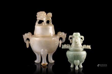 中國 二十世紀初 玉雕三足爐及瑪瑙雕三足爐