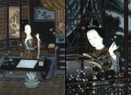 中國 二十世紀初 仕女玻璃畫 一對