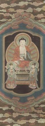 中國 二十世紀 佛及觀音畫 設色布本