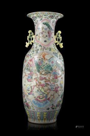 中國 十九世紀 粉彩戰爭圖雙耳瓶