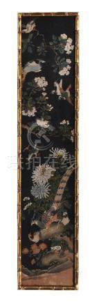 A set of three Chinese decorative silk painted panels