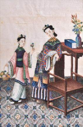 Two Chinese gouache paintings