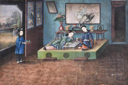 A set of seven Chinese gouache paintings