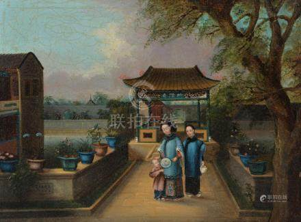 A pair of Chinese export paintings