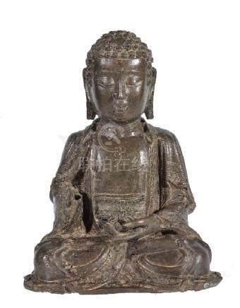 A Chinese bronze seated figure of Buddha
