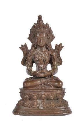 A Tibetan bronze figure of Amitayus