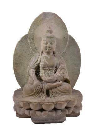 A Chinese marble Buddha
