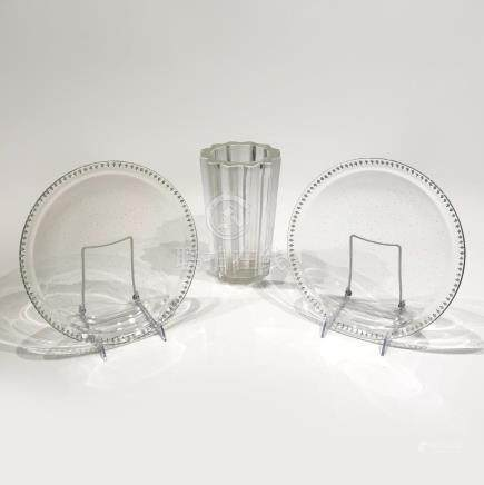 Pair of Glass Plates and One Vase