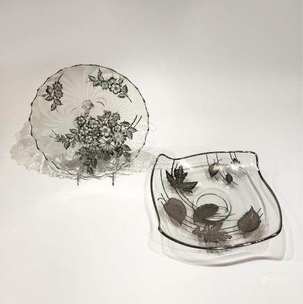 Two Japanese Silver Overlay Glass Platters