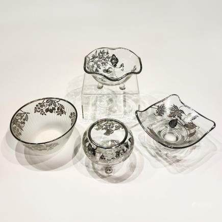 Four Japanese Silver Overlay Glass Bowls