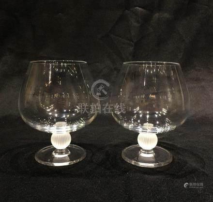 Pair of Japanese Sasaki Crystal Brandy Snifters