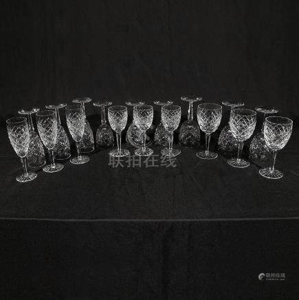18-Piece Set of Waterford Cut Crystal Glasses