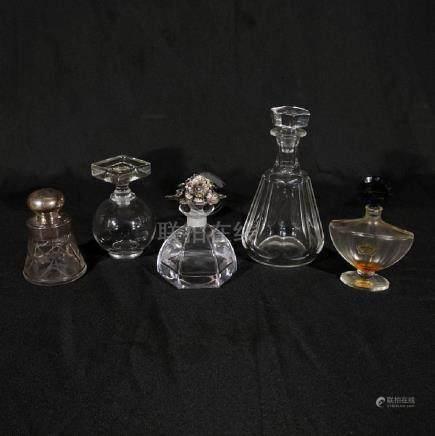 Five Glass/Crystal Perfume Bottles