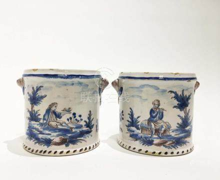 Pair of Delft Blue & White Pots