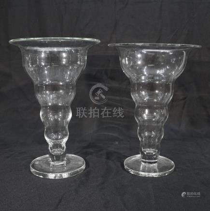 Pair of Very Large Crystal Vases